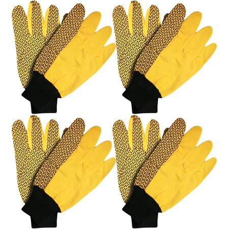 Stanley Canvas Large Yellow Gloves with Black PVC Dots and Knit Wrist (4 Pair)