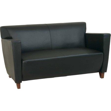 (Black Bonded Leather Love Seat)
