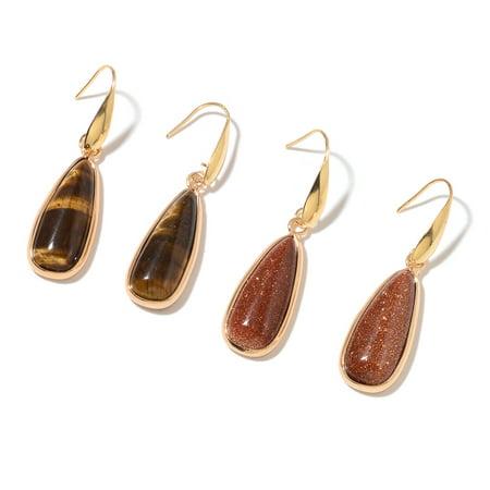 Tiger Tigers Eye Earrings - Stainless Steel Pear Tigers Eye Gold Sandstone Set of 2 Dangle Drop Earrings Jewelry for Women