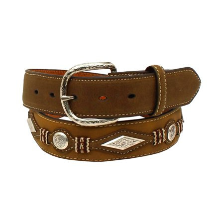 Nocona Men's Top Hand Diamond Circle Scrolled Conchos Belt Medium Brown Distressed 42