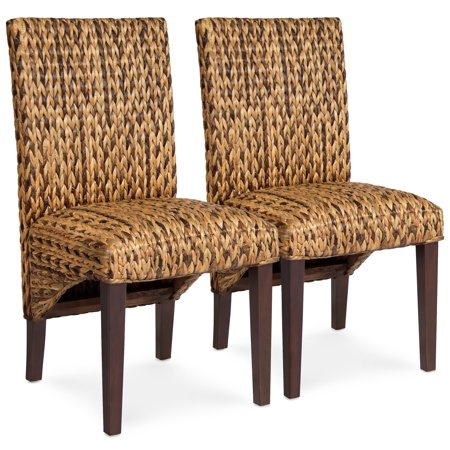 Best Choice Products Set of 2 Elegant Hand Woven Seagrass Dining Side Chairs w/ Sturdy Wooden Legs, High Backrest for Home Kitchen - Brown ()