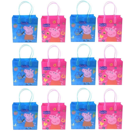 12PCS Peppa Pig Goodie Party Favor Gift Birthday Loot Bags Licensed NEW fastship (Peppa Pig Gift Bags)
