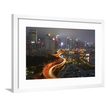 Island Eastern Corridor Motorway, Causeway Bay, and high-rises, Hong Kong, China Framed Print Wall Art By David Wall