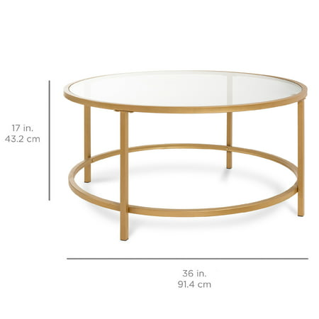 Best Choice Products 36in Round Tempered Glass Coffee Table w/ Satin Trim for Home, Living Room, Dining Room - Gold
