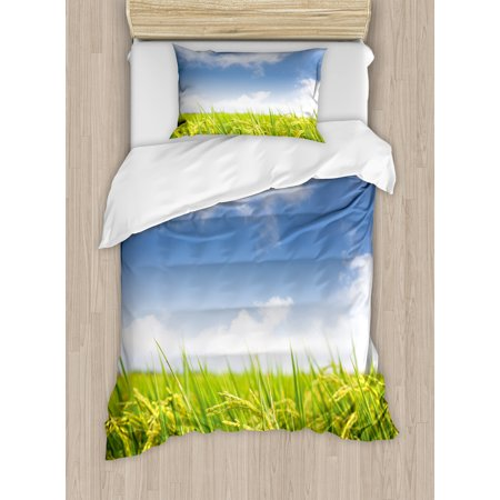 Plant Twin Size Duvet Cover Set  Asian Cultivated Farm Paddy Rice Field Agriculture Food Eastern Countryside  Decorative 2 Piece Bedding Set With 1 Pillow Sham  Sky Blue Apple Green  By Ambesonne