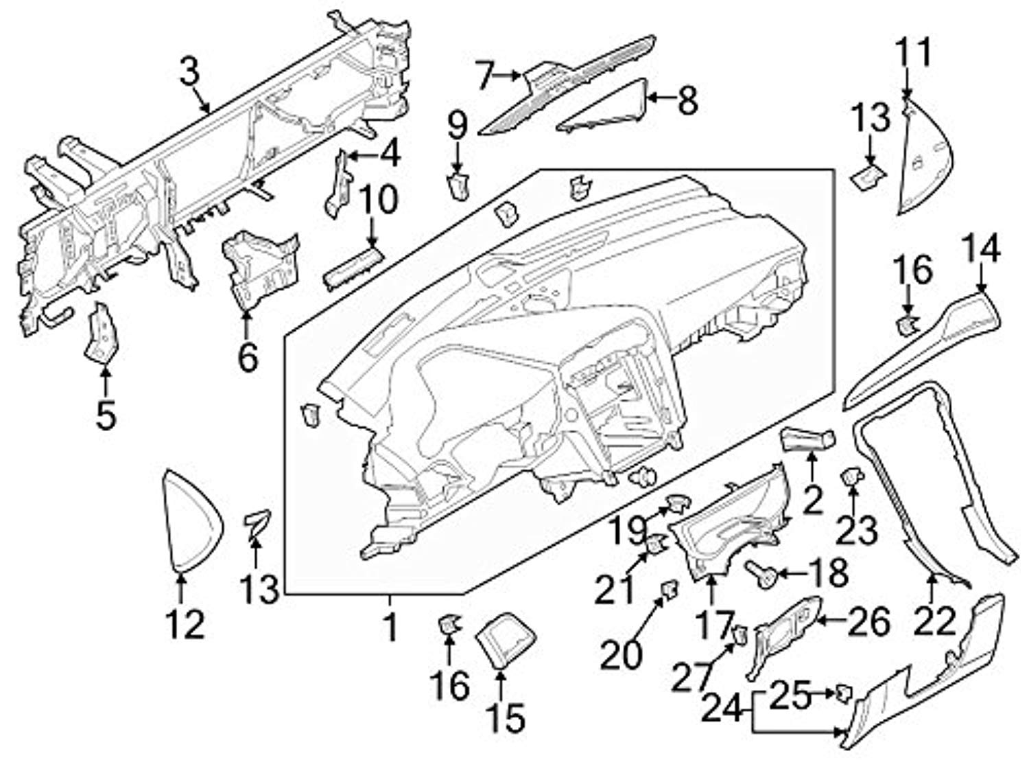 Ford Ds7z 5404339 Aa Panel Instrument