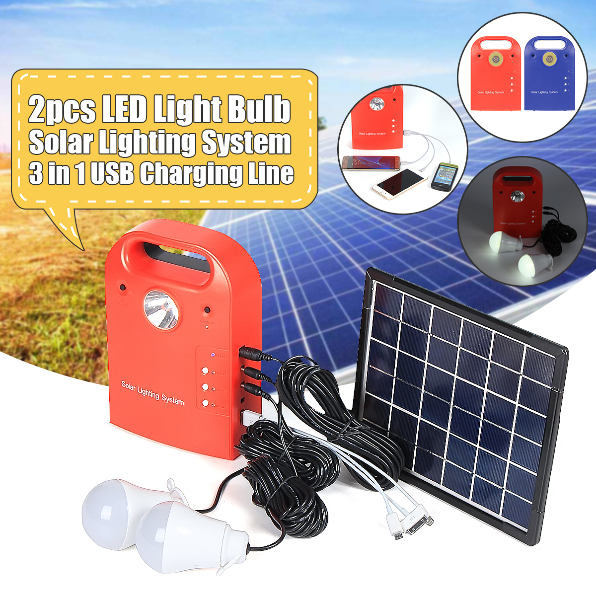 Portable Small DC Solar Panels Charging Generator Power with solar generator Highlight LED Light Bulb for Home Outdoor Tourism Picnic Camping (Color: Red/Blue)