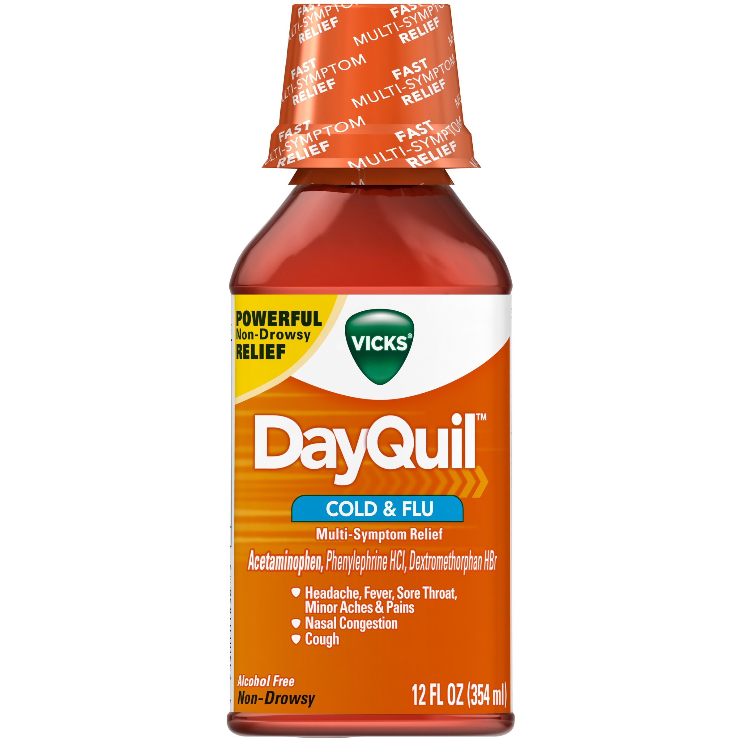 Vicks DayQuil Alcohol Free Non-Drowsy Cold & Flu Liquid 12 fl. oz. Bottle