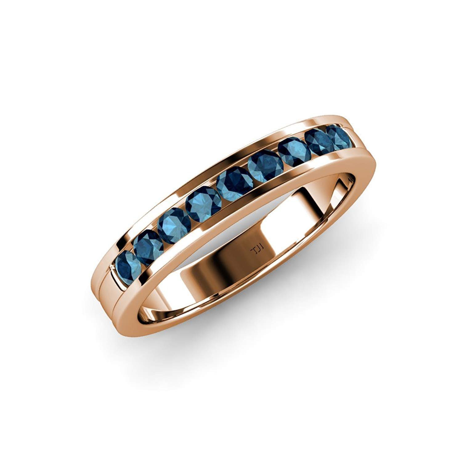 Blue Diamond 2.2mm 9 Stone Channel Set Wedding Band 0.36 Carat tw in 14K Rose Gold.size 6.0 by TriJewels