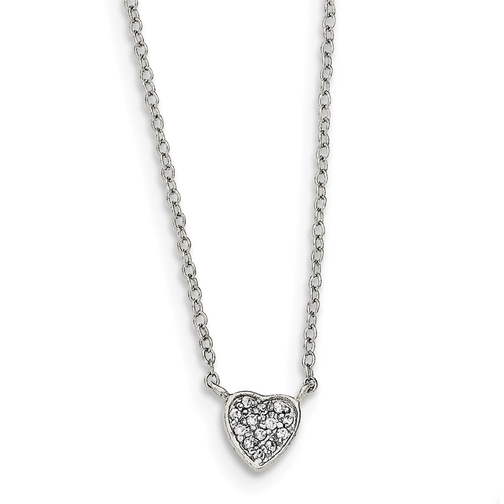 """925 Sterling Silver Polished Heart with Cubic Zirconia Necklace -16"""" (16in x 1mm)"""