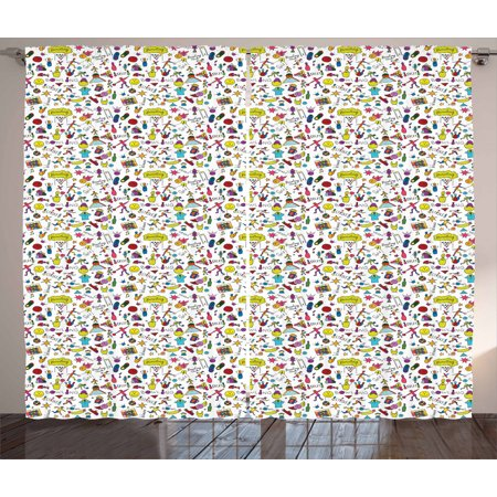 Bowling Curtains 2 Panels Set Cartoon Style Cheerful Hobby Pattern for