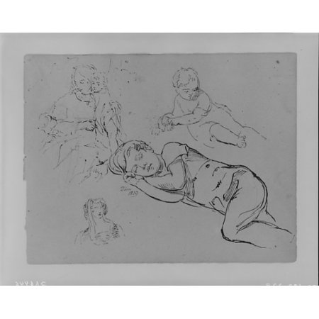 """- Portrait of Tom Sleeping Woman Holding Two Children Leaning Baby Womans Head (from Sketchbook) Poster Print by Thomas Sully (American Horncastle Lincolnshire 1783  """"1872 Philadelphia Pennsylvania) (18"""