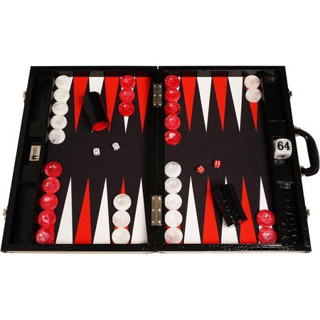 Wycliffe Brothers Tournament Backgammon Set, Black with Black Field, Gen III