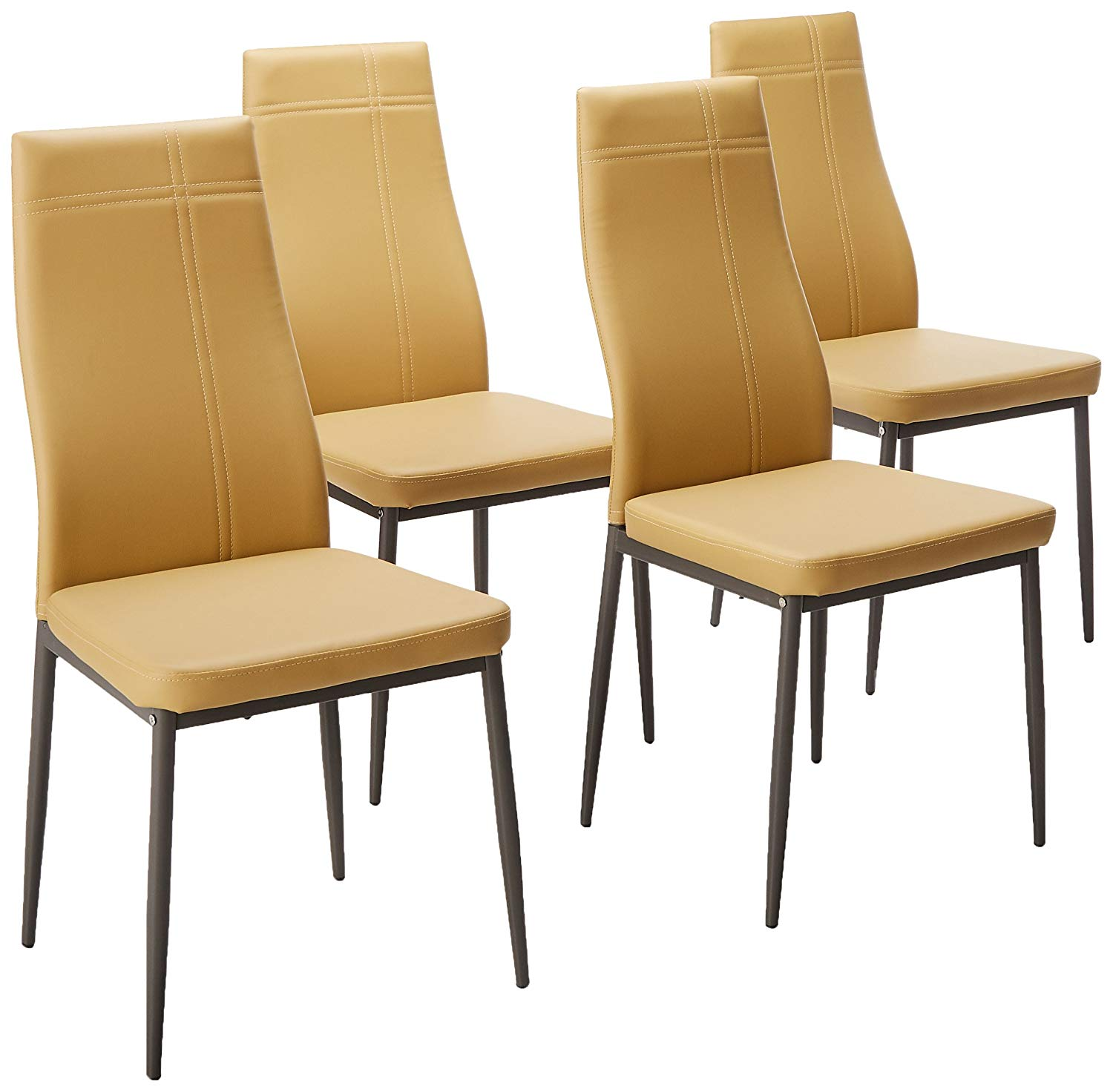 Bri Kitchen Dining Chairs, Light Brown Faux Leather & Metal Frame, Modern (Set Of Four)