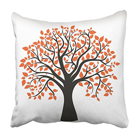 Red Maple Tree Leaves (ARHOME Orange Oak Autumn Tree for Your Design Red Maple Fall Silhouette Abstract Leaf Pillowcase Cushion Cover 20x20 inch )