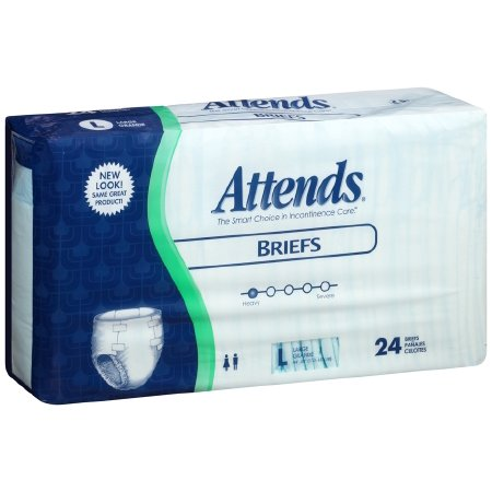 Attends Adult Incontinent Brief Tab Closure  Large  Disposable  Heavy Absorbency  Case Of 72