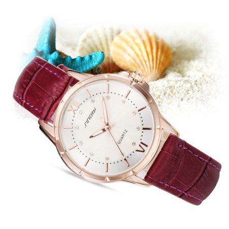 Lady Rhinestone Wristwatch SINOBI 9505 Leather Strap Business Quartz Watch - Walmart.com