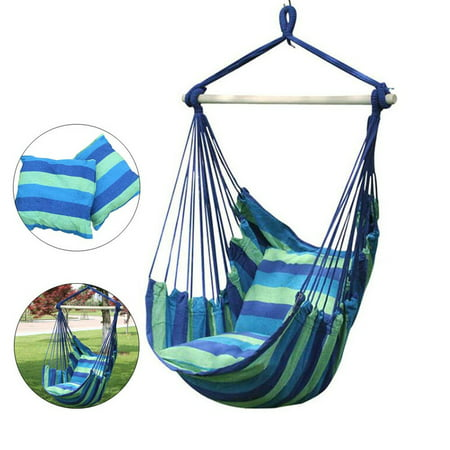 Hammock Hardware - Hammock Chair Swing for Patio, Porch, Bedroom, Backyard, Indoor or Outdoor - Includes Hanging Hardware and 2 Seat Cushions