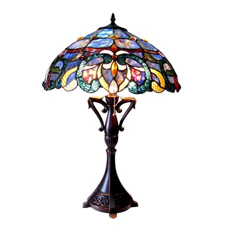 - Chloe  Nora Collection Tiffany Style Victorian Design 2-light Dark Antique Bronze Table Lamp