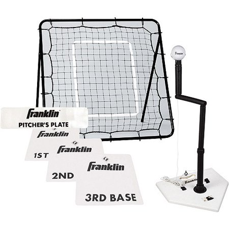 Franklin Sports MLB Baseball & Softball Pitch Return, Tee & Base