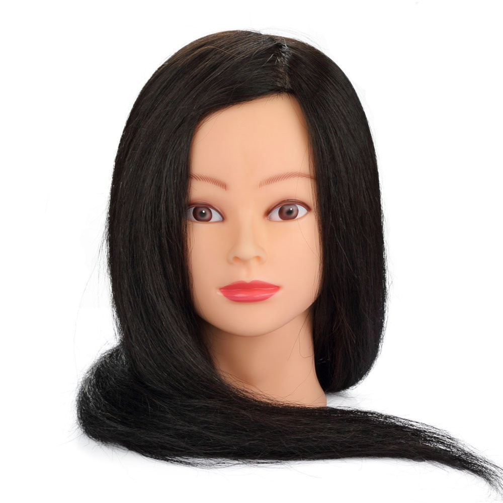 Hairdressing 100% Black Professional Real Hair 22 Inch,Training Mannequin Head Hairdresser Human Hair with Clamp