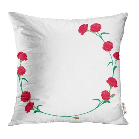 ARHOME Green Blank Carnation Mother's Day Red Bloom Bouquet Cute Floral Flower May Mother Pillowcase Cushion Cover 16x16 inch - Cute Mothers Day Crafts