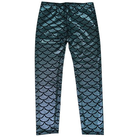 Kids Girls Night Club Full Length Mermaid Fish Scale Print Leggings Pants Blue S (Additional Colour Print)