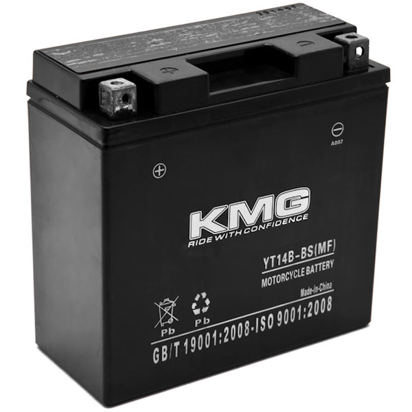 KMG YT14B-BS Battery For Yamaha 1100 XVS1100 V-Star (All) 1999-2010 Sealed Maintenace Free 12V Battery High Performance SMF OEM Replacement Powersport Motorcycle ATV Snowmobile Watercraft