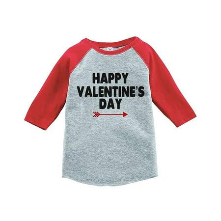 Custom Party Shop Boy's Happy Valentine's Day Red Raglan - Small Youth (6-8) T-shirt - Buy Custom