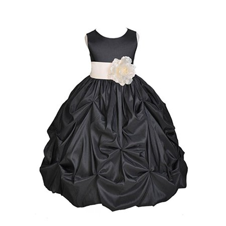 - Ekidsbridal Black Satin Taffeta Pick-Up Bubble Flower Girl Dress Birthday Girl Dress Princess Dresses Ballroom Gown Special Occasion Dresses Easter Summer Dresses Pageant Gown Daily Dresses 301S