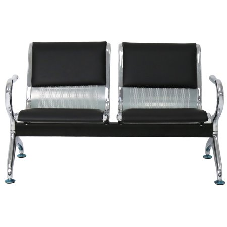 Black Airport (Kinbor 2-SEAT Waiting Room Chairs Black PU Leather Airport Reception Lobby Garden Salon Barber Bench)