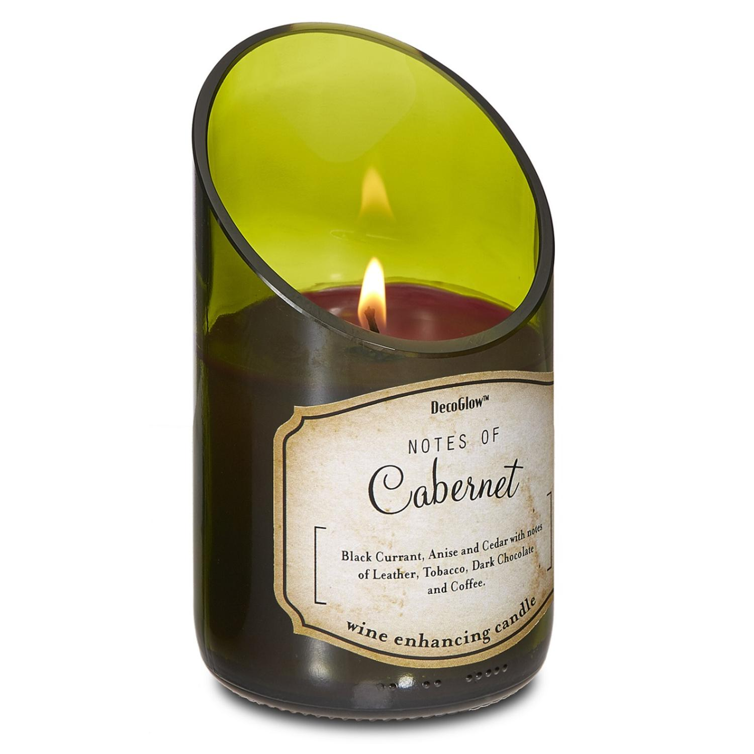 Pack of 2 Vineyard Cabernet Green Wine Bottle Glass Scented Candles 8oz