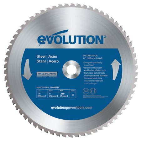 Evolution TCT Metal-Cutting Blades, 14 in, 1 in Arbor, 1,600 rpm, 66 (Tct Chisels)