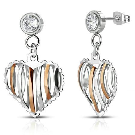 Stainless Steel Cut-Out Heart Pierced Drop Dangle Cubic Zirconia Stud Post Earrings