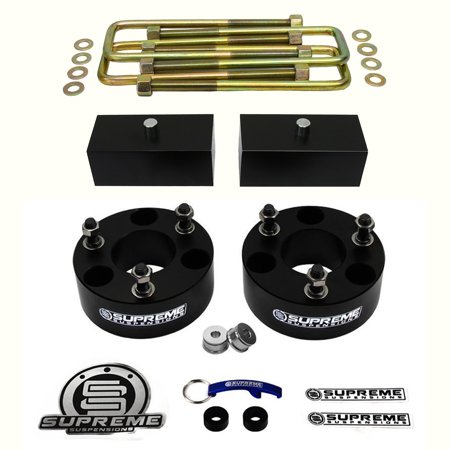 "Supreme Suspensions - Titan Lift Kit Full Suspension Lift 3"" Front Suspension Lift + 2"" Rear Suspension Lift CNC Machined T6 Aircraft Billet (Black) Easy Install Nissan Titan Leveling Kit PRO"