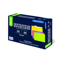 Pen+Gear Invitation Social Envelopes with Peel & Stick Closure, Assorted Brights, 50ct (60796)