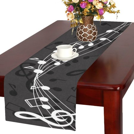 MYPOP Dark Background with Piano Keys and Notes Cotton Linen Table Runner 16x72 inches - Piano Runner