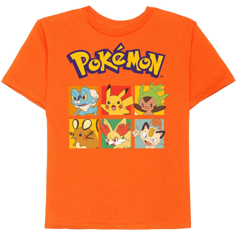 Pokemon Boy's Poke Square Faces Graphic Tee