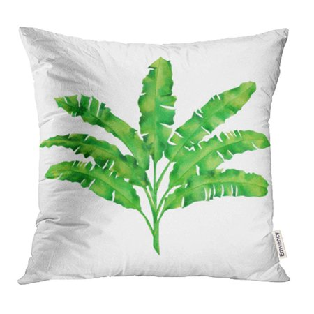 USART Watercolor Painting Green Leaves White Hand Palm Banana Tropical Exotic Leaf Pillowcase Cushion Cover 20x20 inch