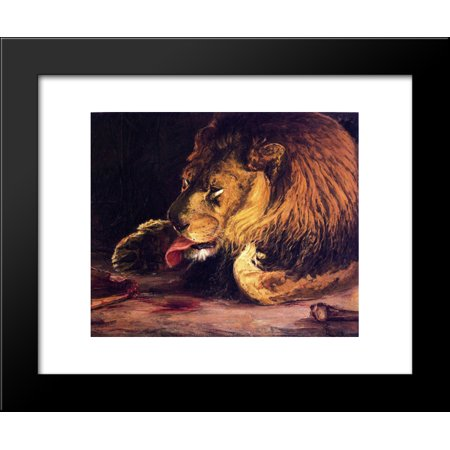 Lion Licking Its Paw 20x24 Framed Art Print by Henry Ossawa Tanner](Lion Paw Print)