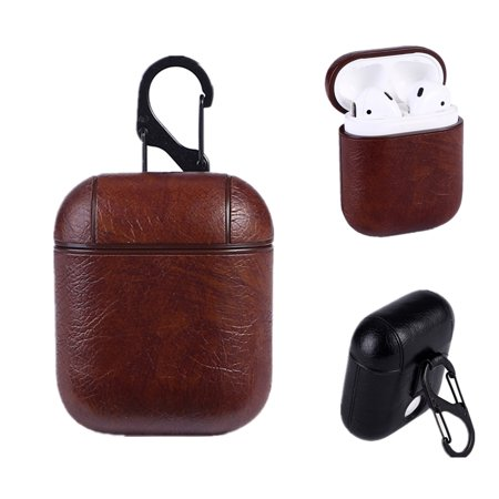 PU Leather Case - Protective Earbud Cover Skin with Carabiner & Charging Hole For Apple AirPods Earphone, Brown