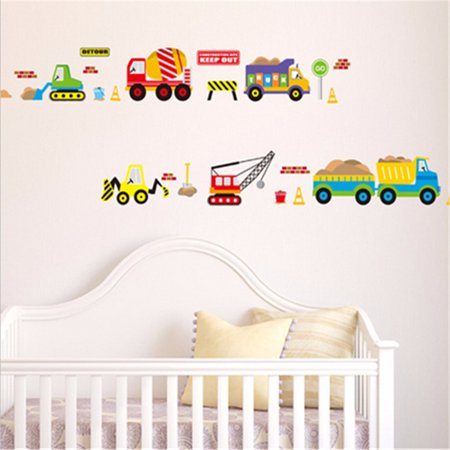 Transport Truck Digger Tractor Car Wall Sticker Removable Art Decal Kids Children Home Room Nursery Refrigerators Furniture Window Decor 19.69x27.56""