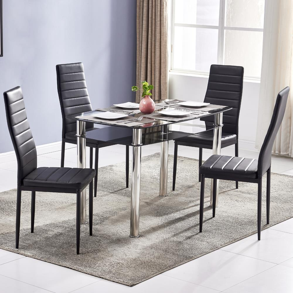 Zimtown 5 Piece Kitchen Dining Table Set with Glass Table ...
