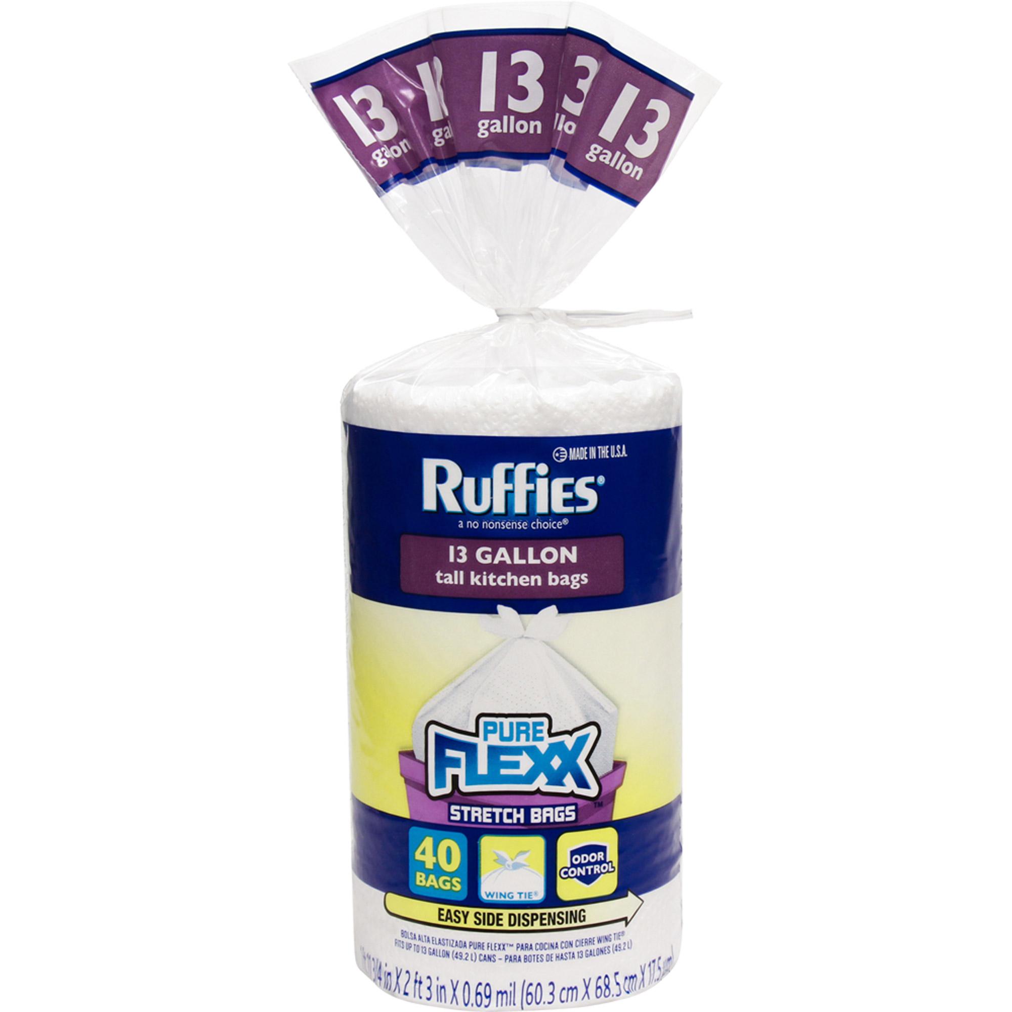 Ruffies Pure Flexx Tall Kitchen Stretch Trash Bags, 13 gal, 40 count