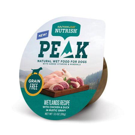 (8 Pack) Rachael Ray Nutrish PEAK Natural Wet Dog Food, Grain Free Wetlands Recipe with Chicken & Duck in Rustic Gravy, 3.5