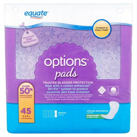 Equate Options Ultimate Absorbency Incontinence Pads  Long Length  45 Ct