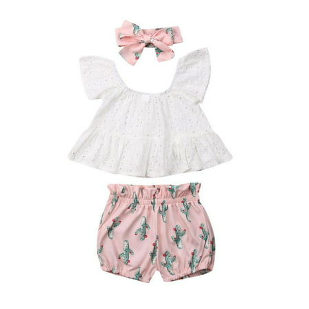 Summer Toddler Baby Girl Clothes Lace Tops Cactus Shorts Headband Outfits Set](Cactus Outfit)