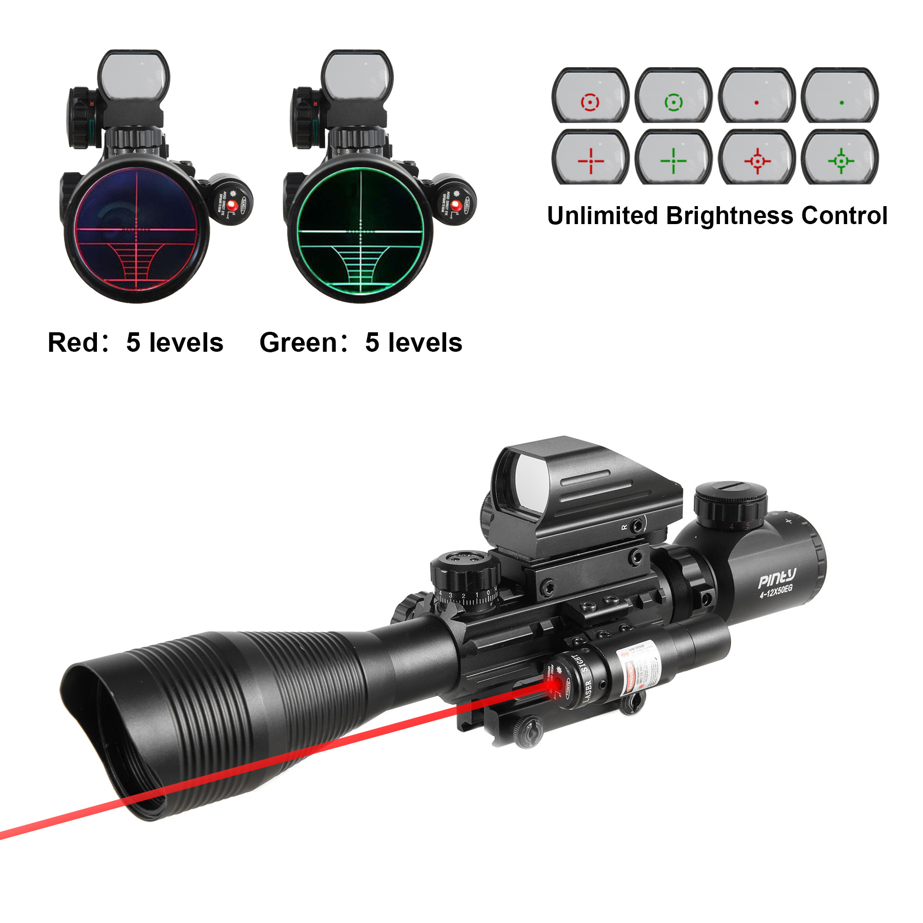 4-12X50EG Rangefinder Mil Dot Reticle Riflescope Laser Sight and Red Dot Sight by