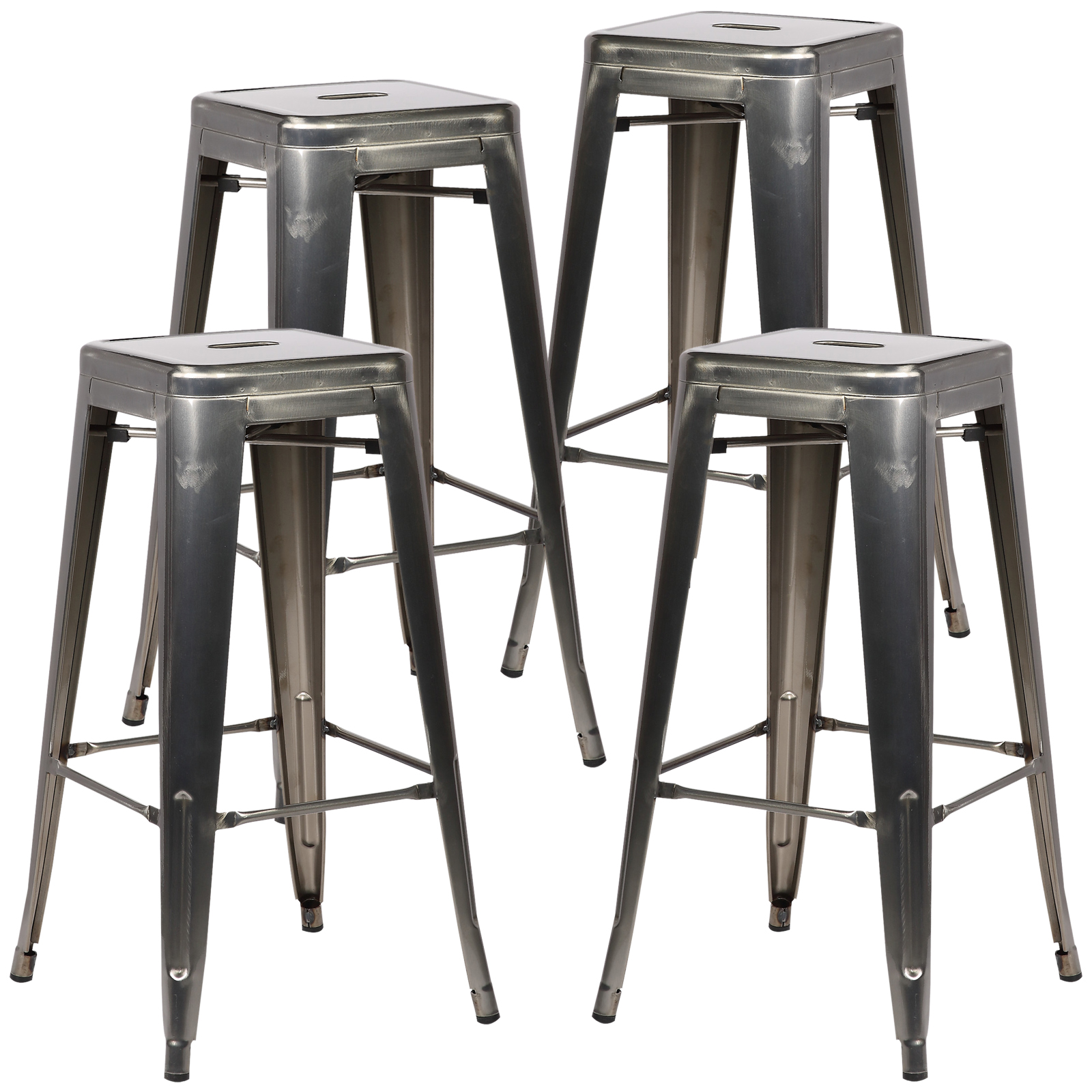 Poly and Bark Trattoria Bar Stool in Polished Gunmetal (Set of 4) by Poly and Bark