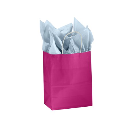 "Medium Glossy Cerise Paper Shopping Bags - 8 ¼""L x 4 ¾""D x 10 ½""H - Case of 100 Medium Cerise Glossy Paper Shopping Bags are the perfect way to add a touch of bright colors to your retail store. Featuring a bold glossy finish with a white interior these shopping bags are perfect for any boutique or retail store.  Add tissue paper and ribbon and you instantly have a gift bag. Sold in cases of 100 bags."